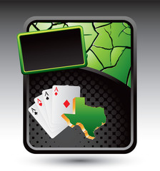 Texas hold em on cracked green advertisement