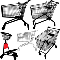 Shopping cart silhouettes
