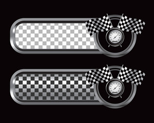 Racing flags and speedometer on silver and black checkered ads