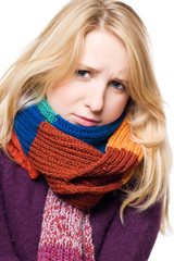 sick beauty young woman in a scarf