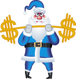 Vector illustration of Santa Claus with bar of us dollars