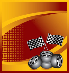 Racing checkered flags and tires on orange halftone banner