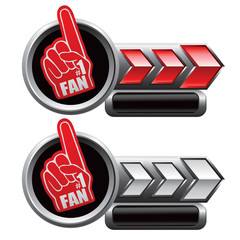 Fan hand on red and white arrow nameplate banners