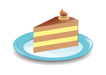 Cake on the blue plate