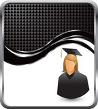 Female graduate on black checkered wave background