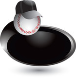 Baseball with hat on silver swoosh poster