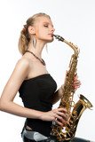 sensual pretty blonde with saxophone kissing isolated on white poster