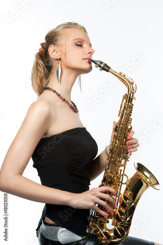 sensual pretty blonde with saxophone kissing isolated on white t-shirt