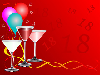 Eighteenth Birthday Party Vector Background