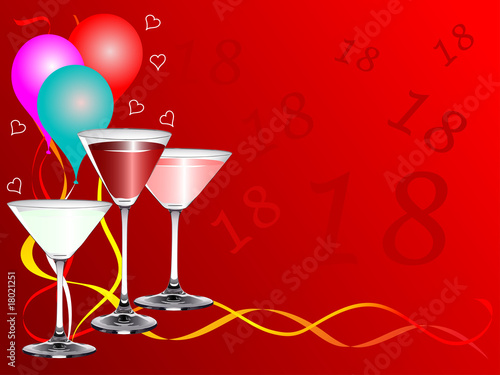 Eighteenth Birthday Party Vector Background