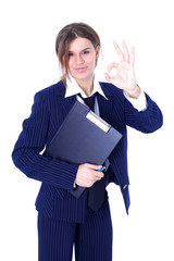 friendly businesswoman with OK sign isolated on white