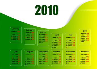 Calendar 2010 with American holidays. Months. Vector illustratio