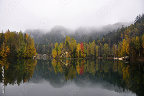 Autumn view of lake in Adrspach - Teplice Rocks