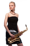 sensual pretty blonde with saxophone isolated over white poster