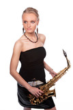 dreaming sensual blonde woman with saxophone isolated poster