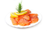 Fillet of  salty salmon with greens and  lemon poster