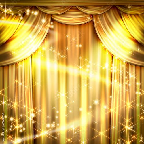 Foto op Plexiglas Licht, schaduw ゴールドのカーテン