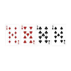 Four nine, variegated cards.Vector illustration