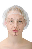 woman´s face before plastic surgery, face lift poster