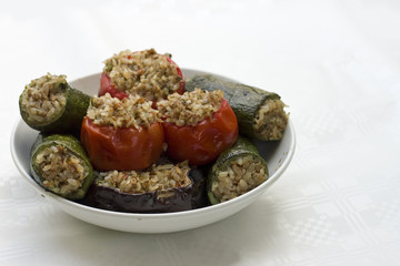 vegetables stuffed with rice