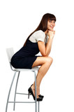 beautiful businesswoman sitting on chair