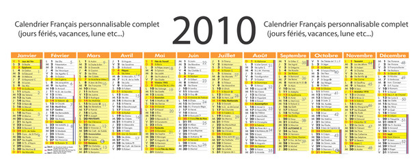 Calendrier 2010 complet