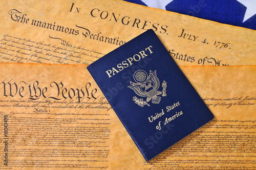 Passport, US Constitution and Flag