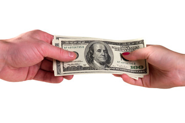 Dollars in hands.