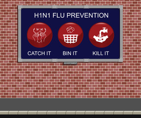 Advertising board with H1N1 flu prevention measures