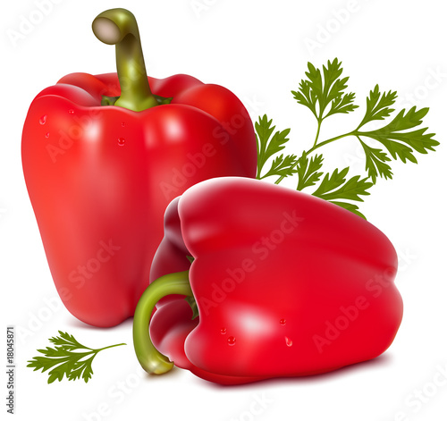 Photorealistic vector illustration of red sweet peppers.