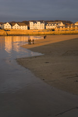 Warm sunset on seafront of Elie, East Neuk, Fife, Scotland.