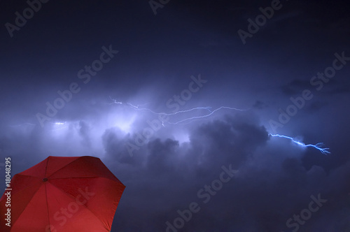Lightning Strike and Red Umbrella