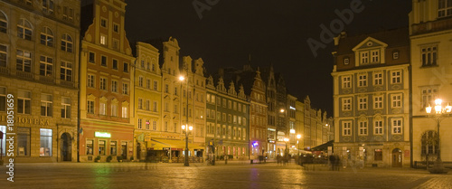 Old market in Wroclaw in Poland by night