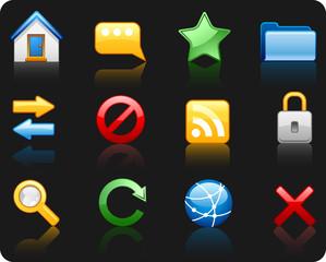 Internet_black background icon set