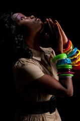 Woman praying profile