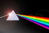 Prism refracting light beam to colors