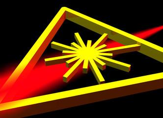 Red laser beam with warning symbol