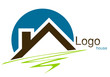 Logo maison toit rond trait marron bleu vert