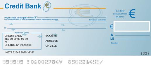 Chèque bancaire vierge