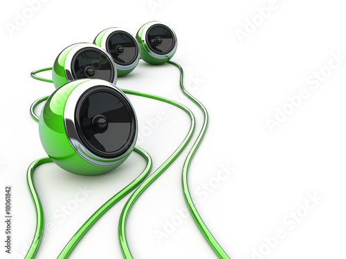 Green speakers isoltaed over white