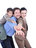 Happy members of young family isolated poster