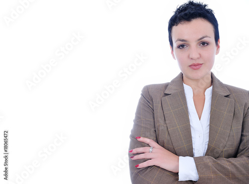 Attractive sexy woman standing, copy space beside