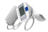Automatic digital blood pressure monitor isolated on white