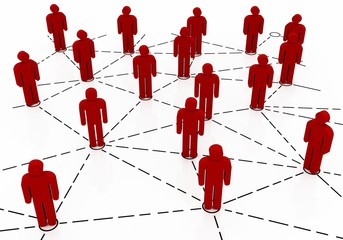 Business team Network, red color
