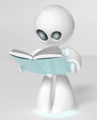 Robottino bianco che legge