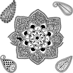 Flower Mandala and Paisley