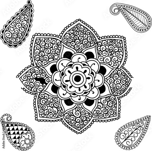 Flower Mandala and Paisley