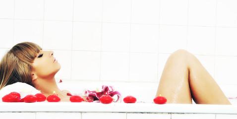 woman bath flower