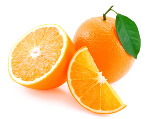 Whole orange, half of orange and orange segment.