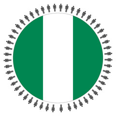 Nigerian flag with people
